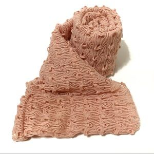 Betseyville Infinity Scarf Pink Rose Gold Knit